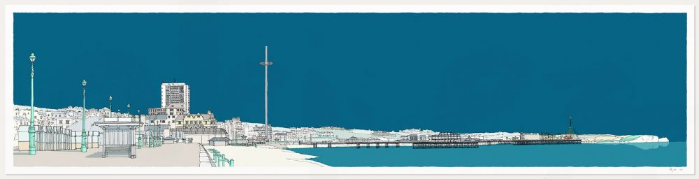 print named Brighton and Hove Seafront Ocean Blue Ocean Blue by artist alej ez