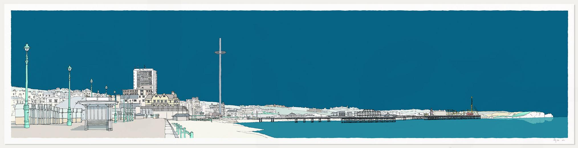 print named Hove Brighton Promenade Ocean Blue by artist alej ez