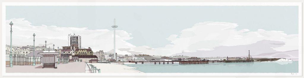 print named Hove Brighton Promenade Pebble Beach by artist alej ez