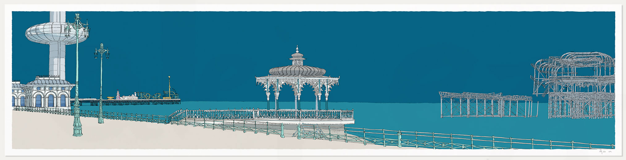 print named I360 Palace Pier Bandstand and West Pier Ocean Blue by artist alej ez