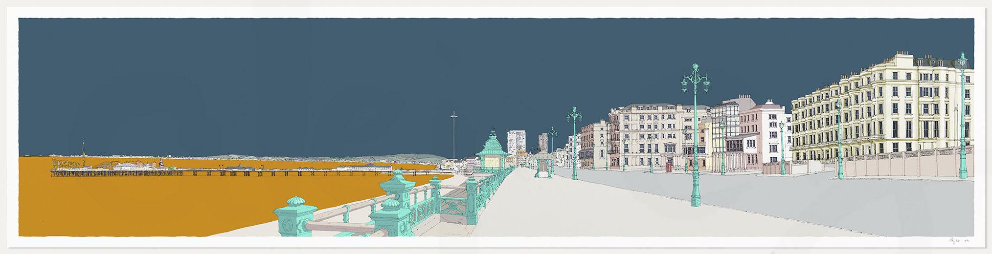 print named Kemptown Brighton Promenade Antique Blue and Ochre by artist alej ez
