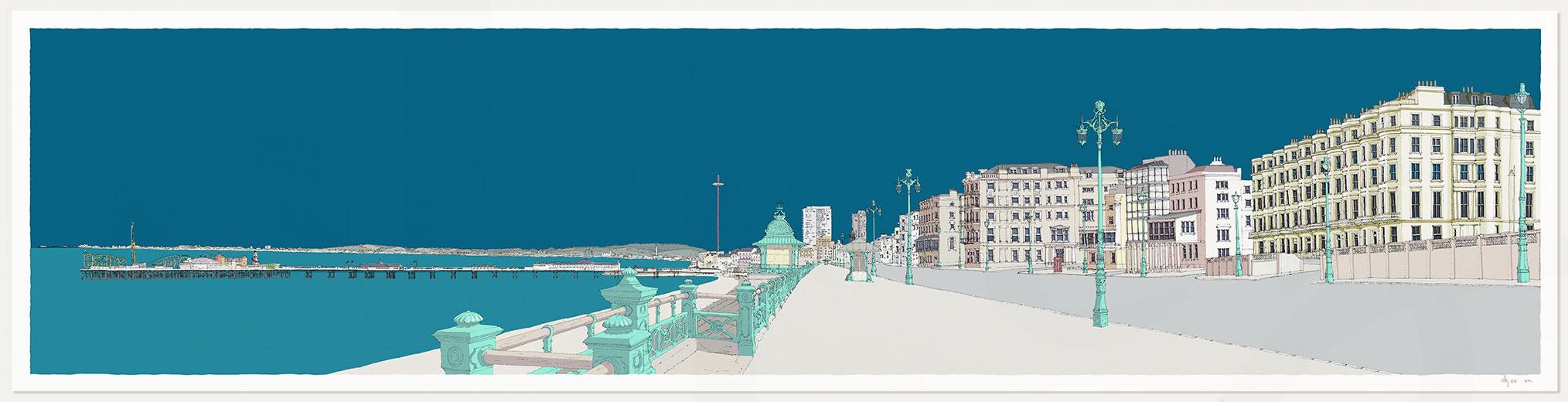 print named Kemptown Brighton Promenade Ocean Blue by artist alej ez