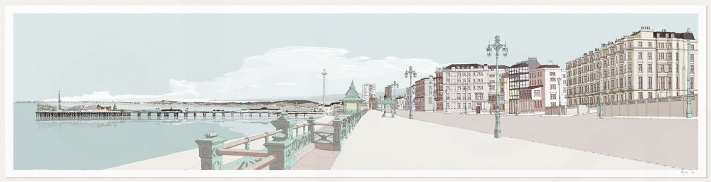 print named Kemptown Brighton Promenade Pebble Beach by artist alej ez