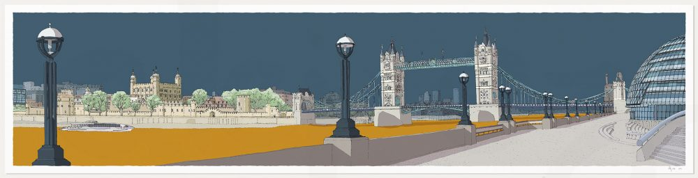 print named London River Thames by Tower Bridge Antique Blue and Ochre by artist alej ez