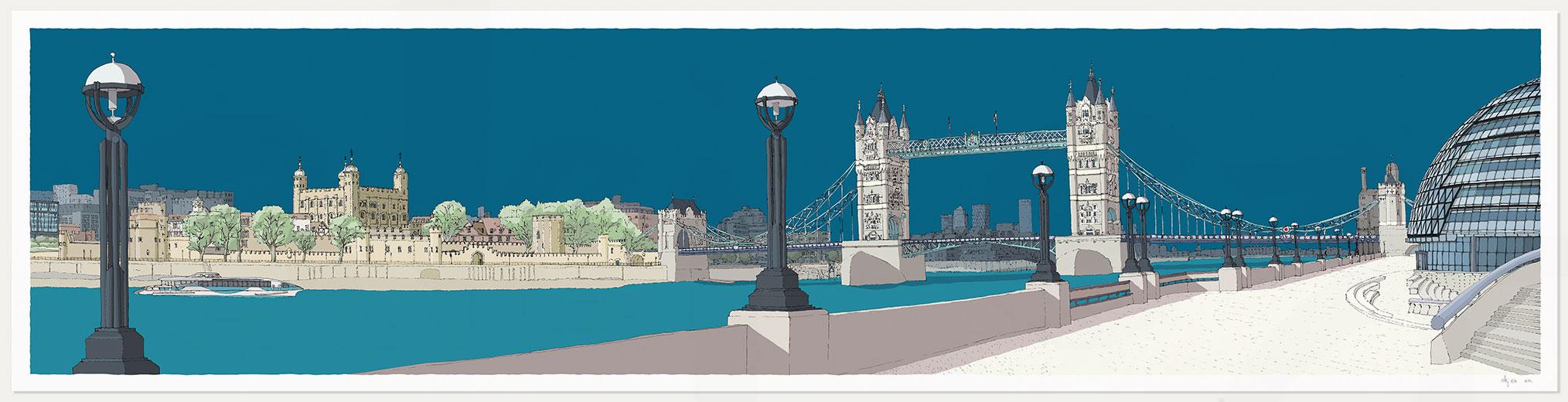 print named London River Thames by Tower Bridge Ocean Blue by artist alej ez