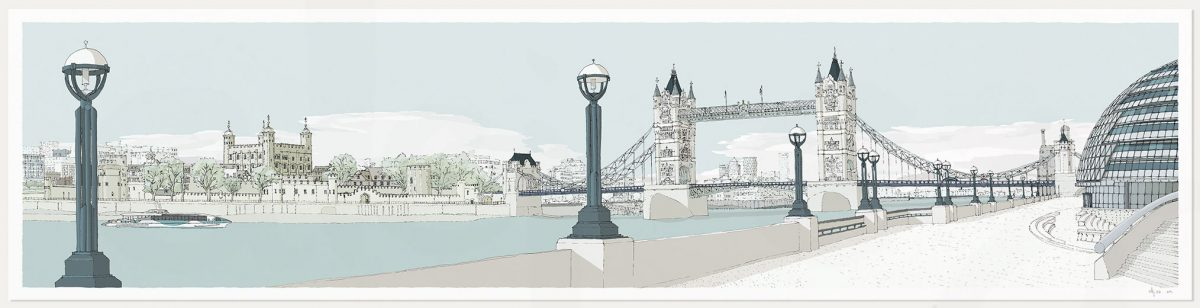 print named London River Thames by Tower Bridge Pebble Beach by artist alej ez