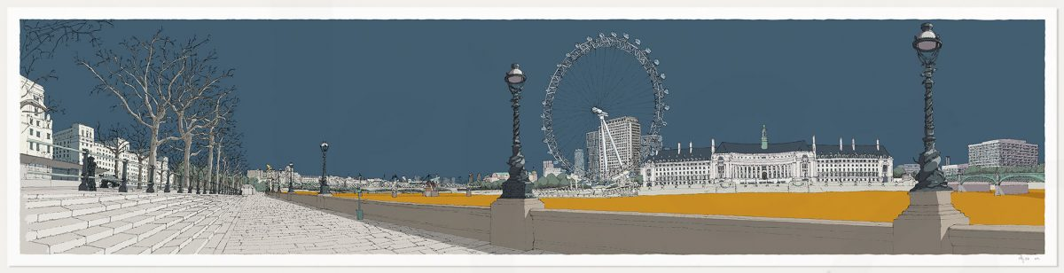 print named London River Thames by Westminster Bridge Antique Blue and Ochre by artist alej ez