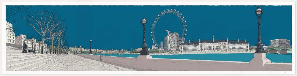 print named London River Thames by Westminster Bridge Ocean Blue by artist alej ez