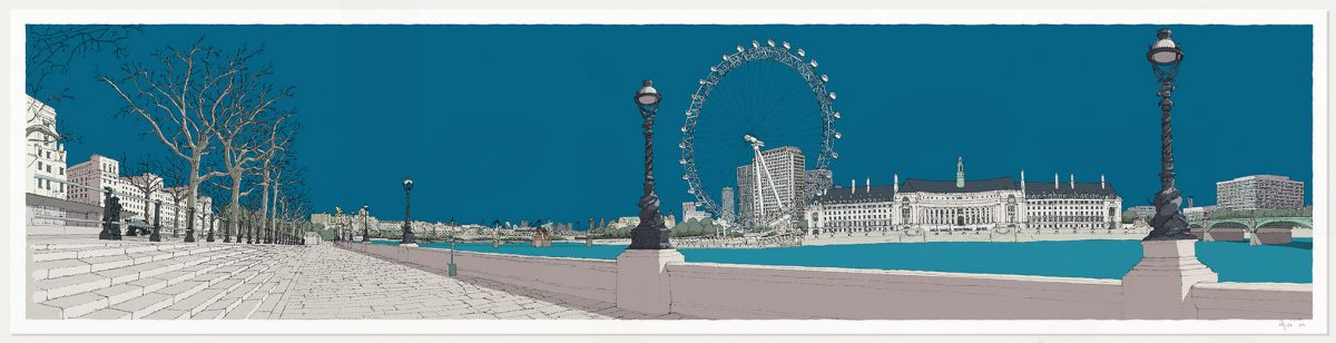 print named London River Thames by Westminster Bridge Ocean Blue by artist alej ez