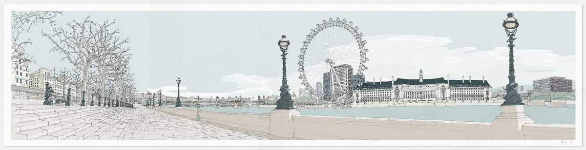 print named London River Thames by Westminster Bridge Pebble Beach by artist alej ez
