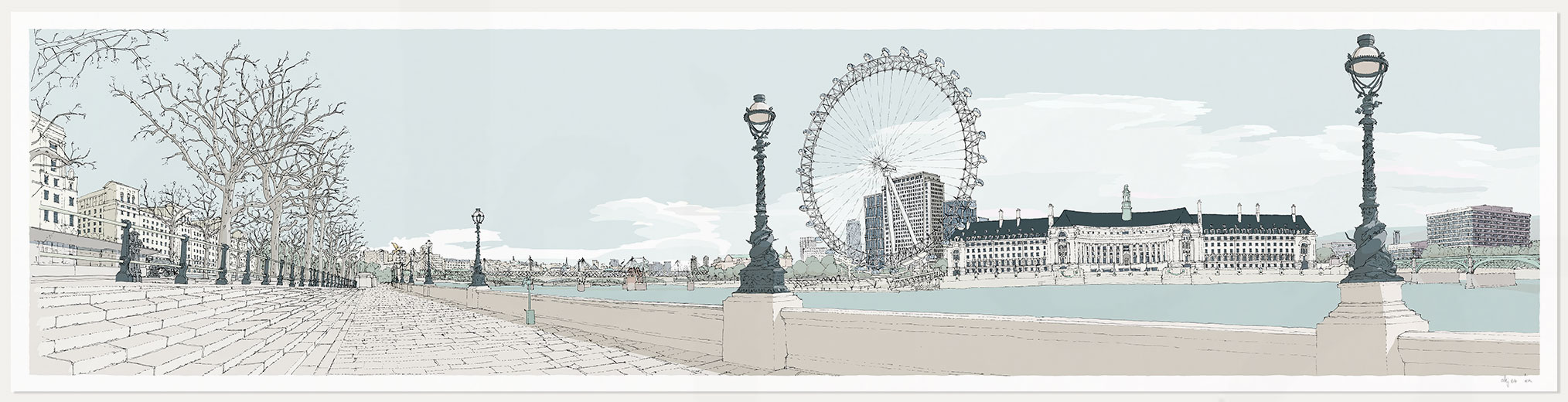 print named London River Thames by Westminster Bridge Pebble Beach by artist alej ez