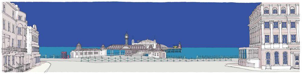 print named Brighton City Pier Blue K by artist alej ez