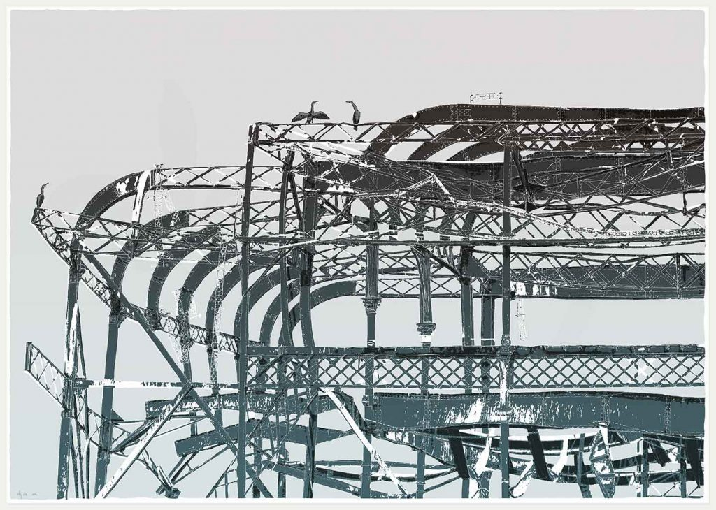 print named West Pier Cormorants by artist alej ez