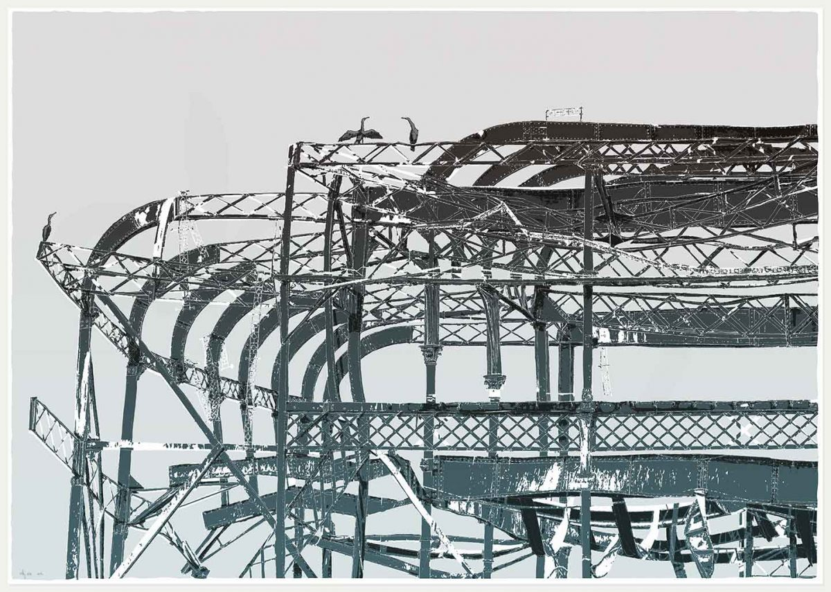 print named West Pier Cormorants by artist alej ez