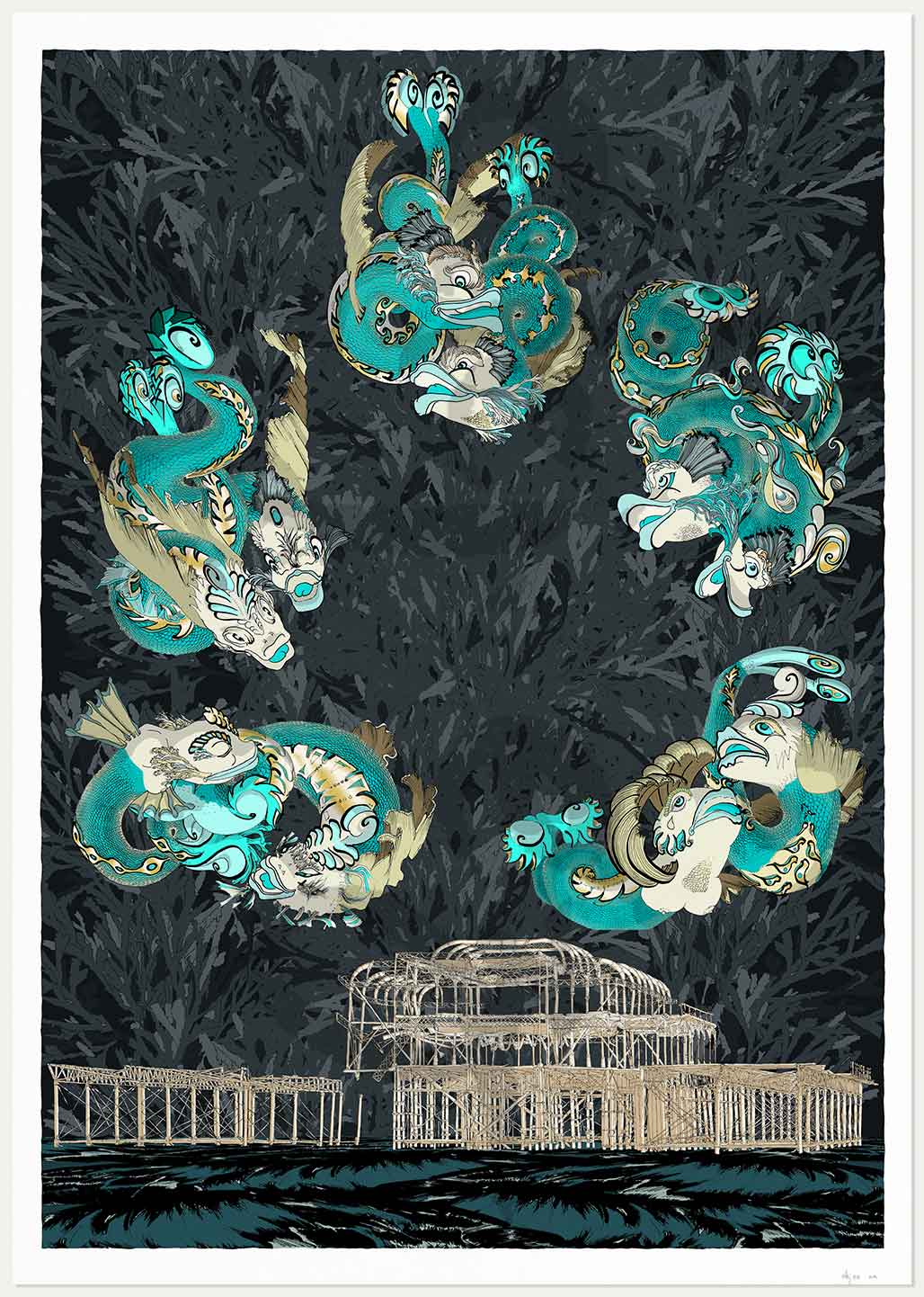 print named Dolphins of Brighton West Pier Midnight Sea by artist alej ez