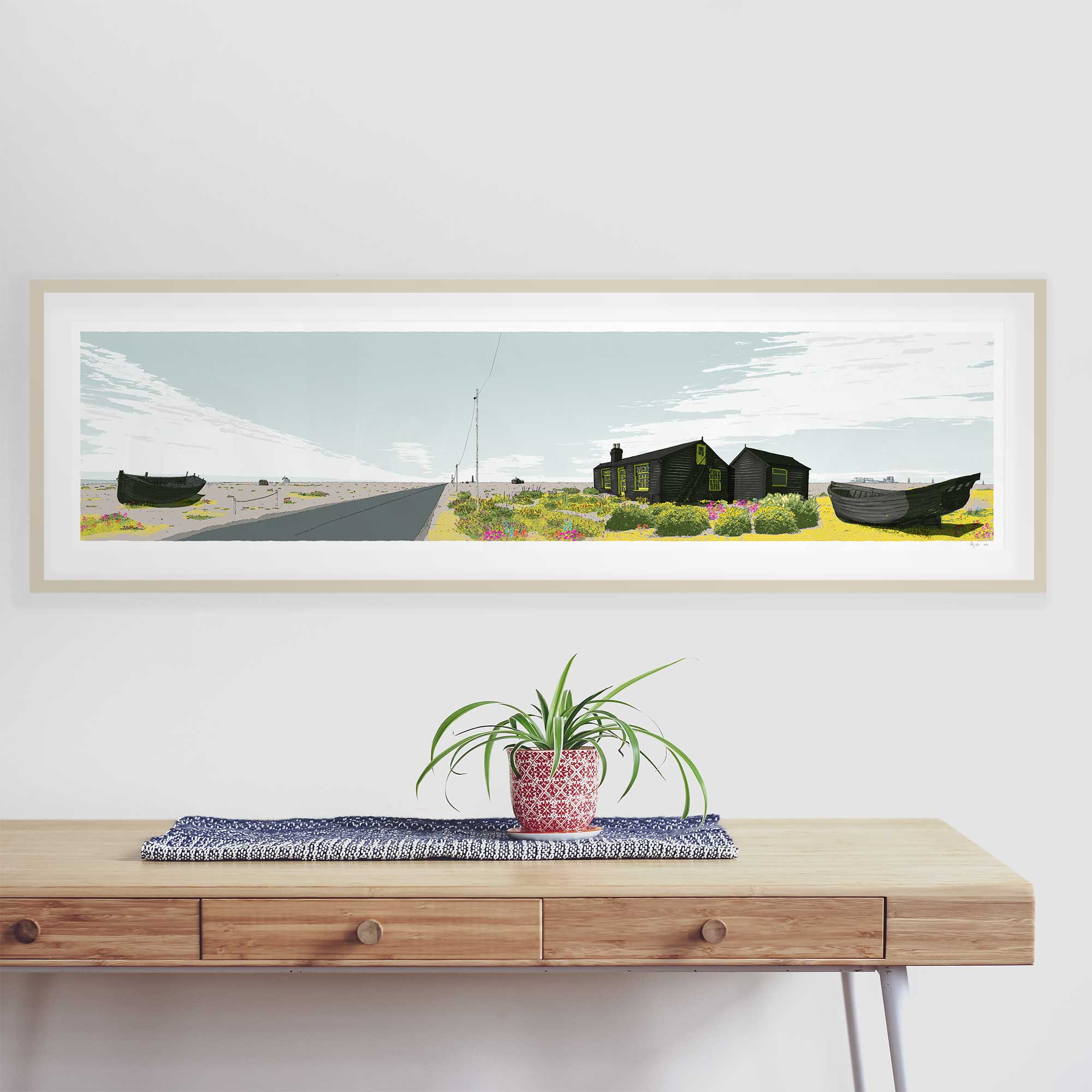 Framed art print by artist alej ez named 'Stratus Over Dungeness Derek Jarman Prospect Cottage'