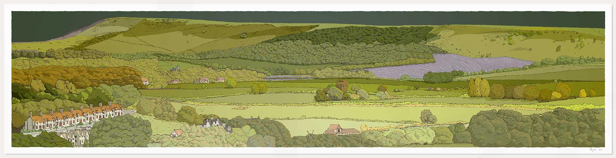 print named Firle from Glynde Green Sky by artist alej ez