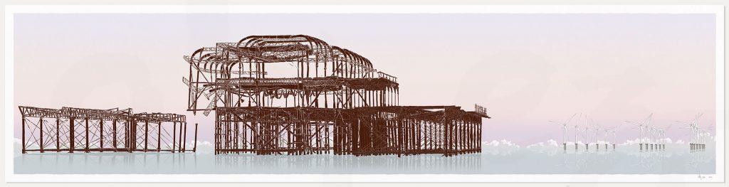print named West Pier Rampion Wind Farm Eventide by artist alej ez
