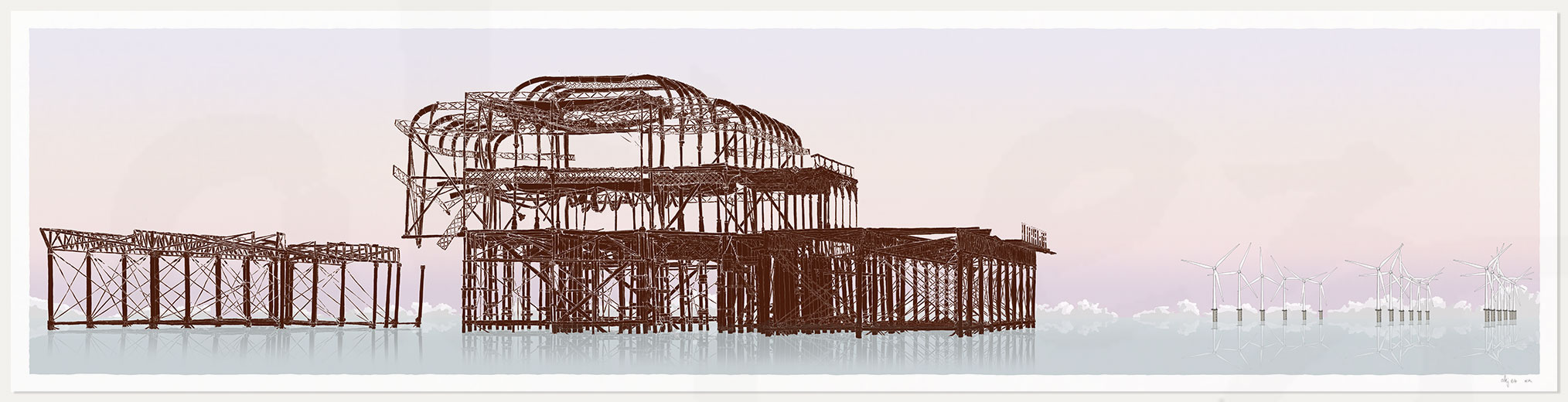print named West Pier Rampion Wind Farm Eventide by artist alej ez