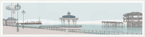 print named I360 Palace Pier Bandstand and West Pier Pebble Beach by artist alej ez