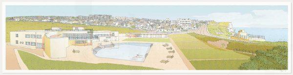 print named Morning Swim Saltdean Lido by the Sea by artist alej ez
