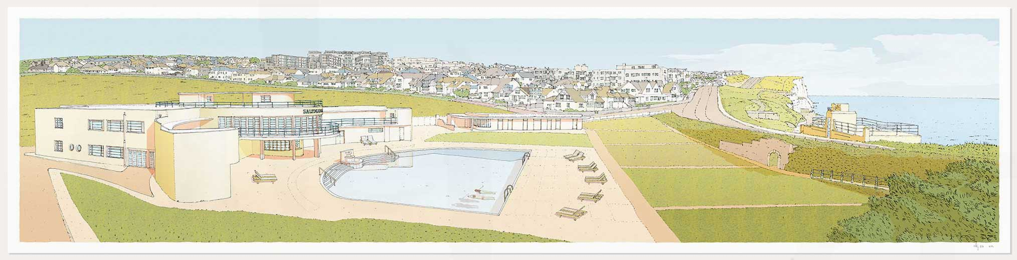 print named Morning Swim Saltdean Lido by the Sea by artist alej ez