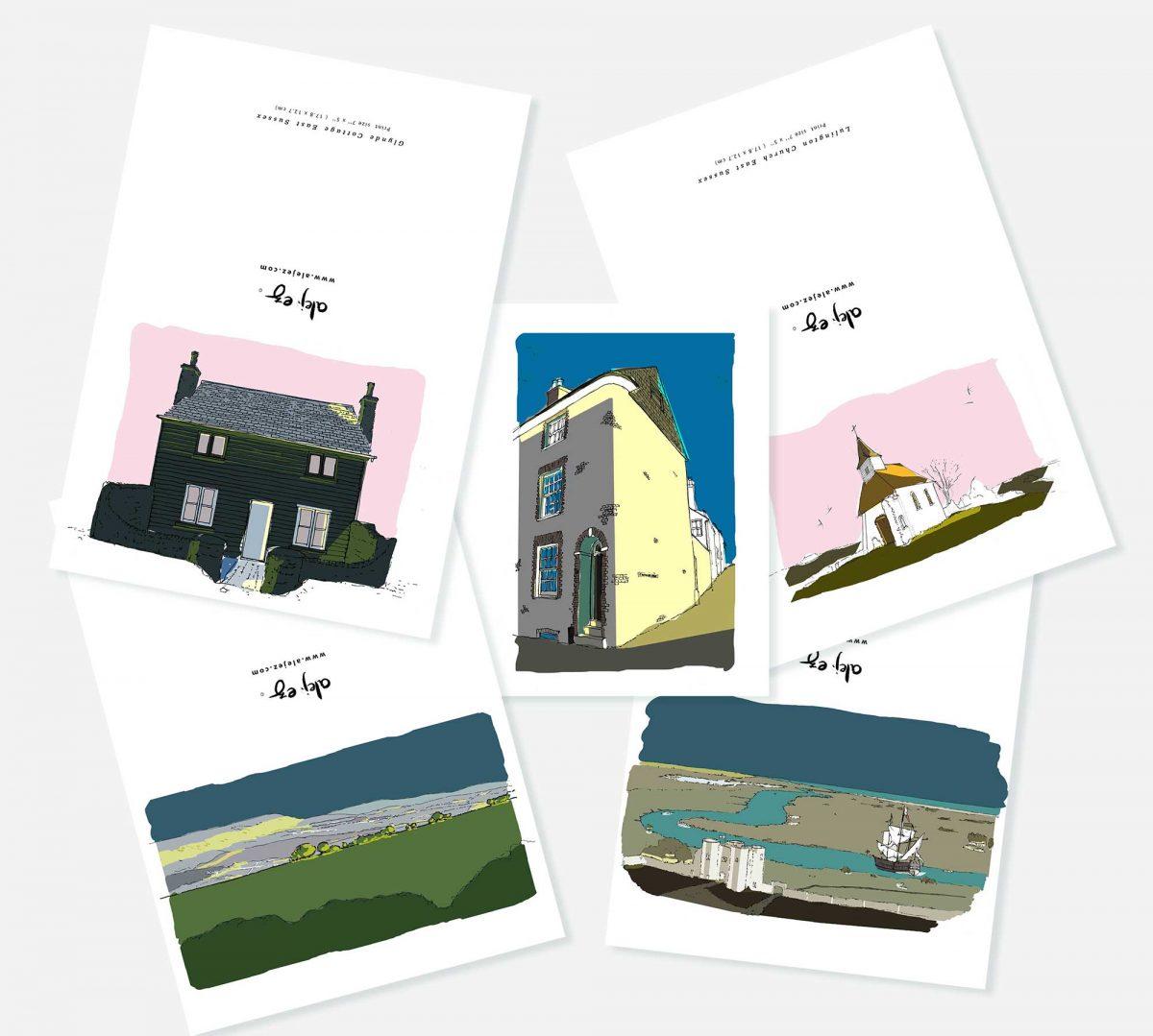 Sussex greeting cards set by artist alej ez