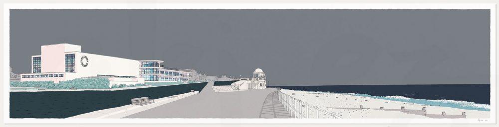 Print named De la Warr Pavilion Bexhill on Sea Silver Grey by artist alej ez