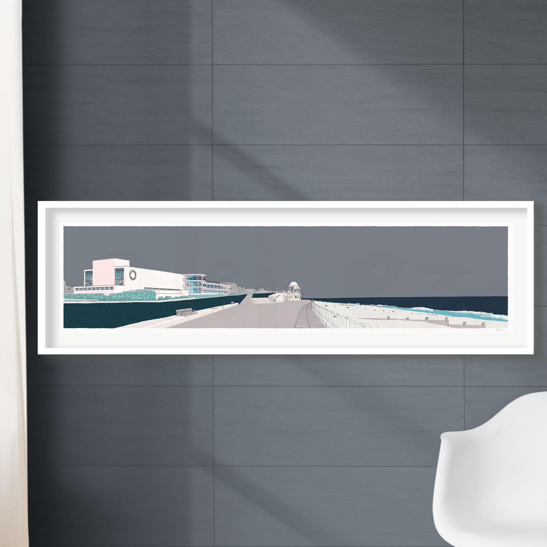 framed print by artist alej ez named De la Warr Pavilion Bexhill on Sea Silver Grey