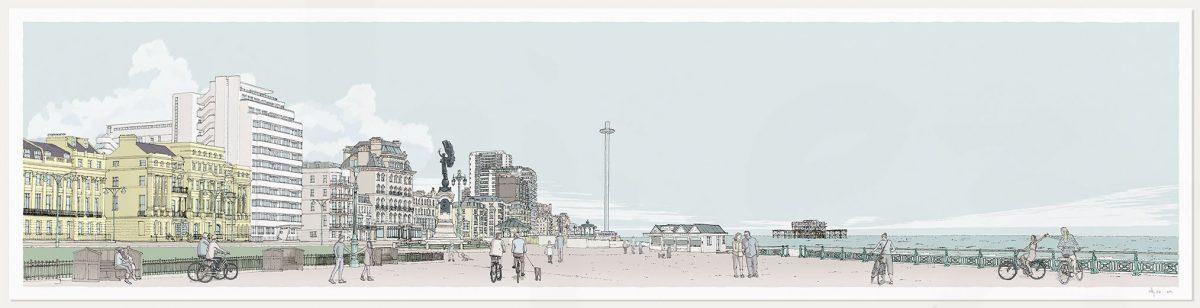 Print named Morning Walk Sea Promenade Brighton and Hove Pebble Beach by artist alej ez