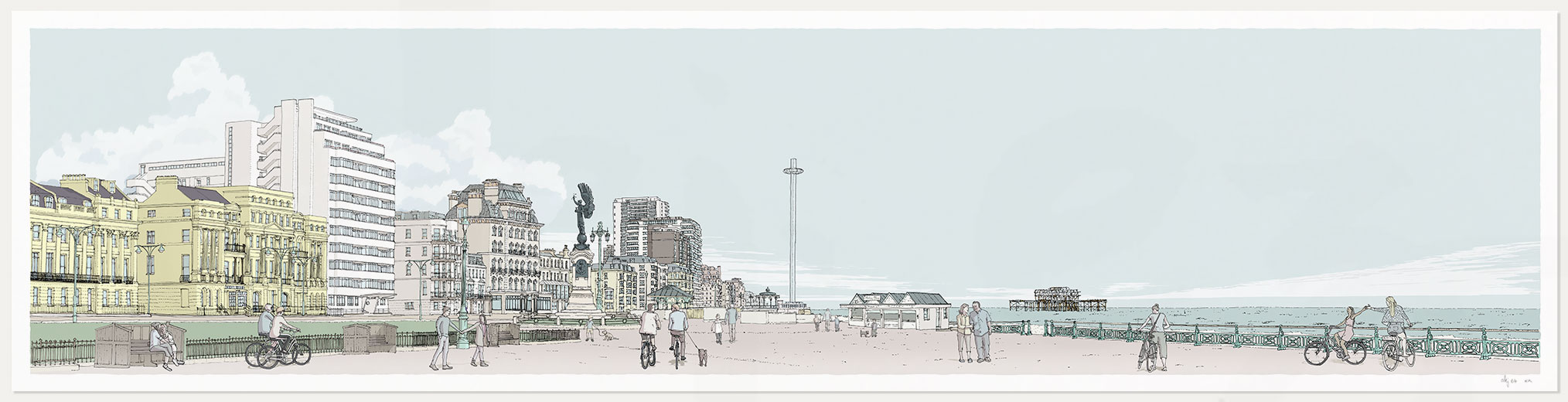 Print named Morning Walk Sea Promenade Brighton and Hove Pebble Beach by artist alej ez