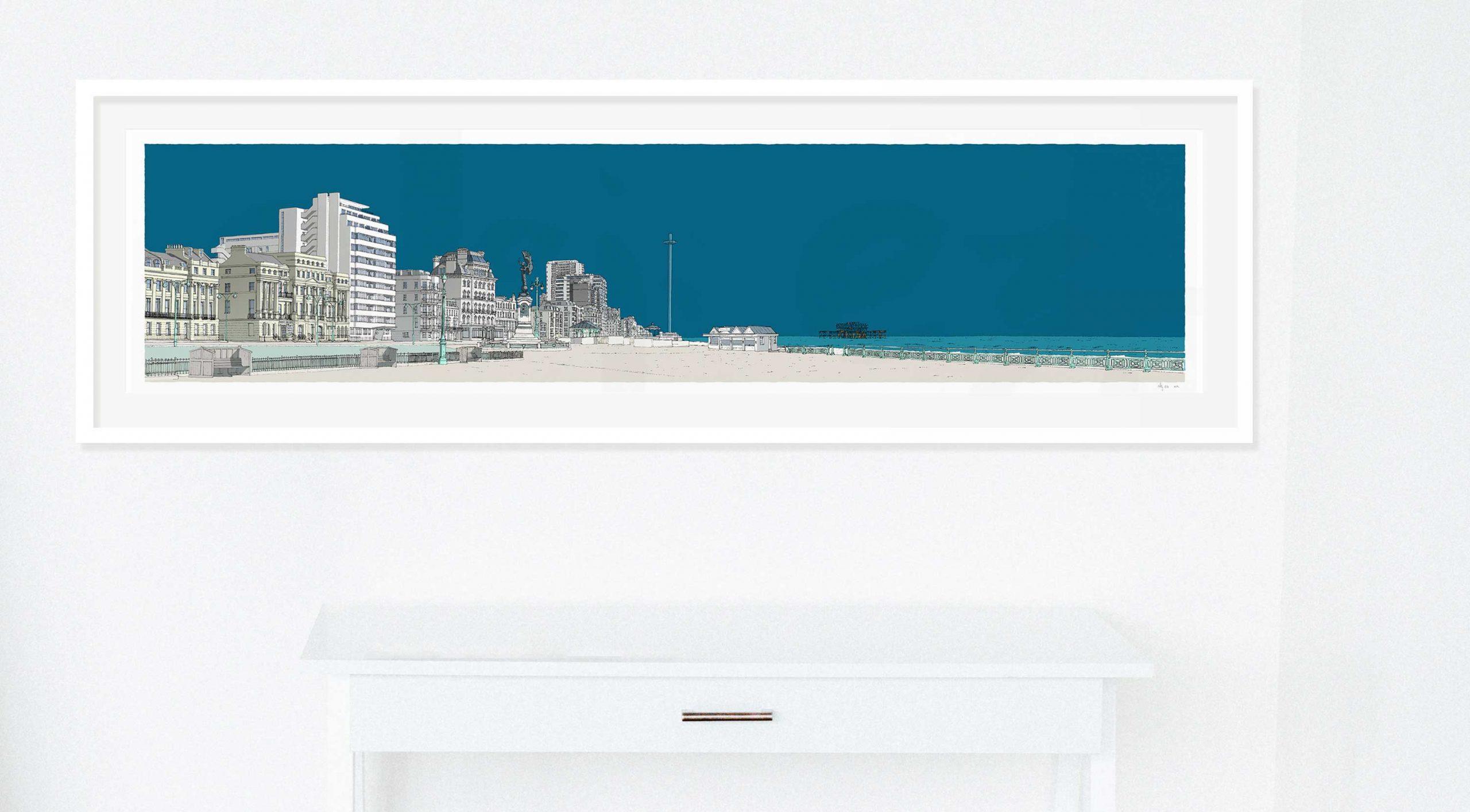 framed fine art print by artist alej ez named Embassy Court Brighton and Hove Promenade Ocean Blue