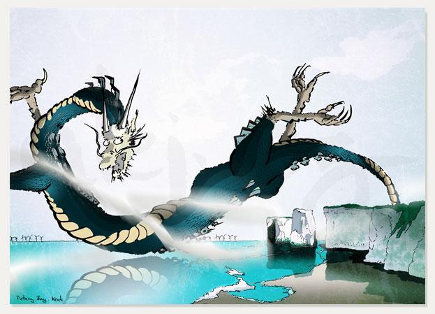 print named Chinoiseriez Dragon, Botany Bay by artist alej ez