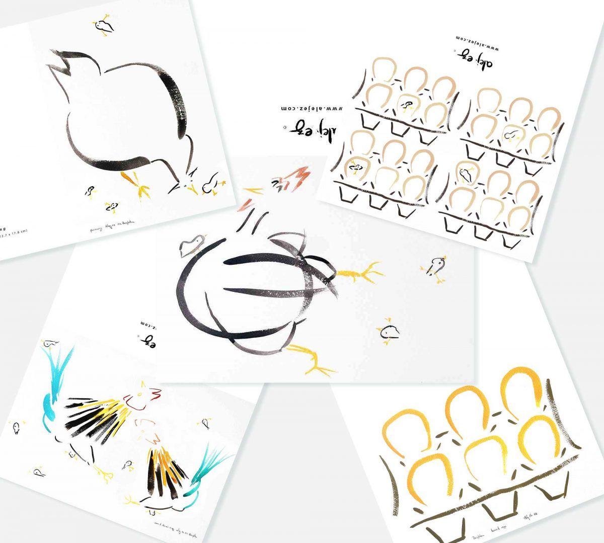 set of greeting cards named alej ez Notelet Chickens