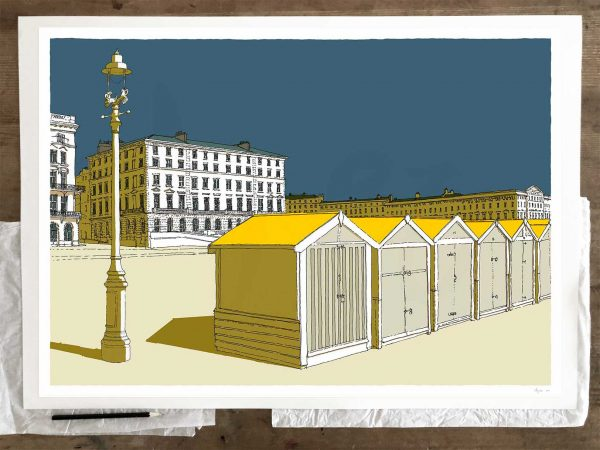Fine art print by artist alej ez titled Beach Huts by Palmeira and Adelaide