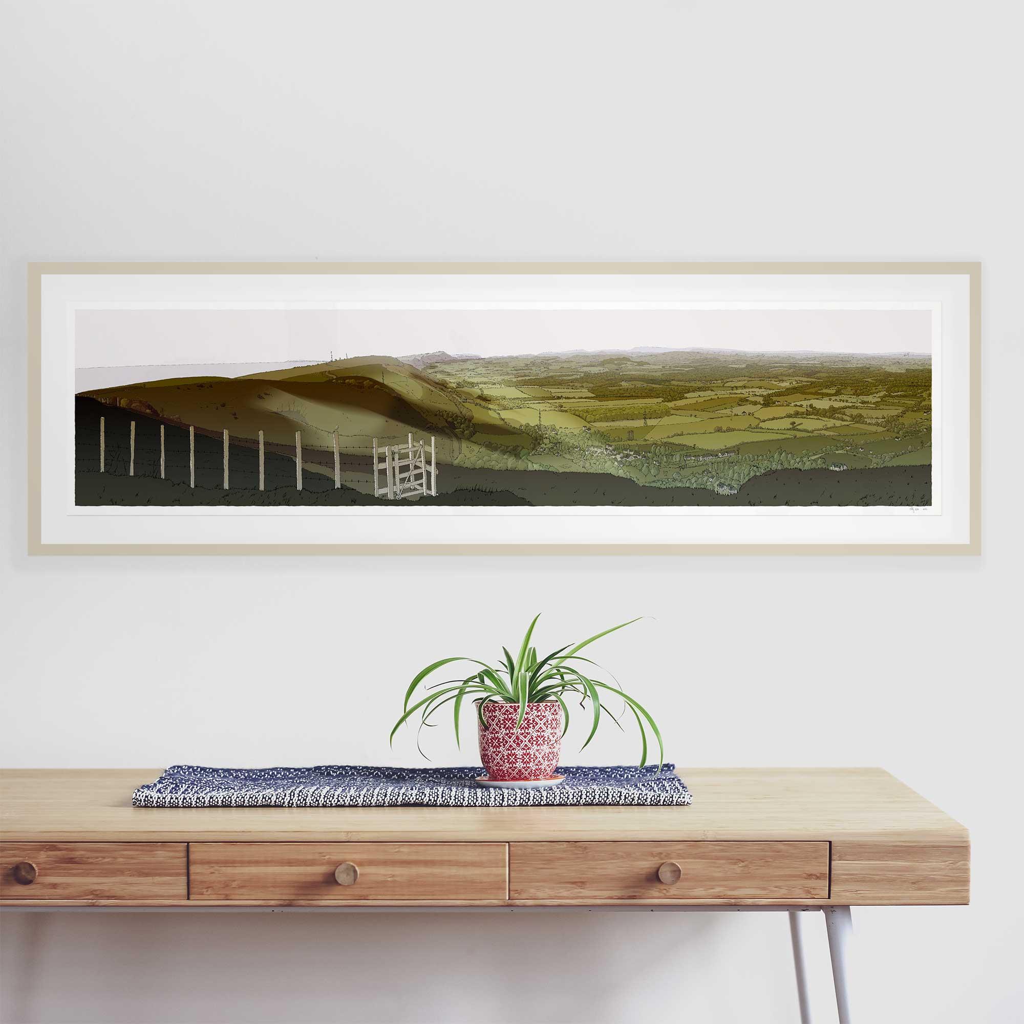 framed print by artist alej ez The Lark ascending. The Sussex Weald from Devils Dyke Season Fall