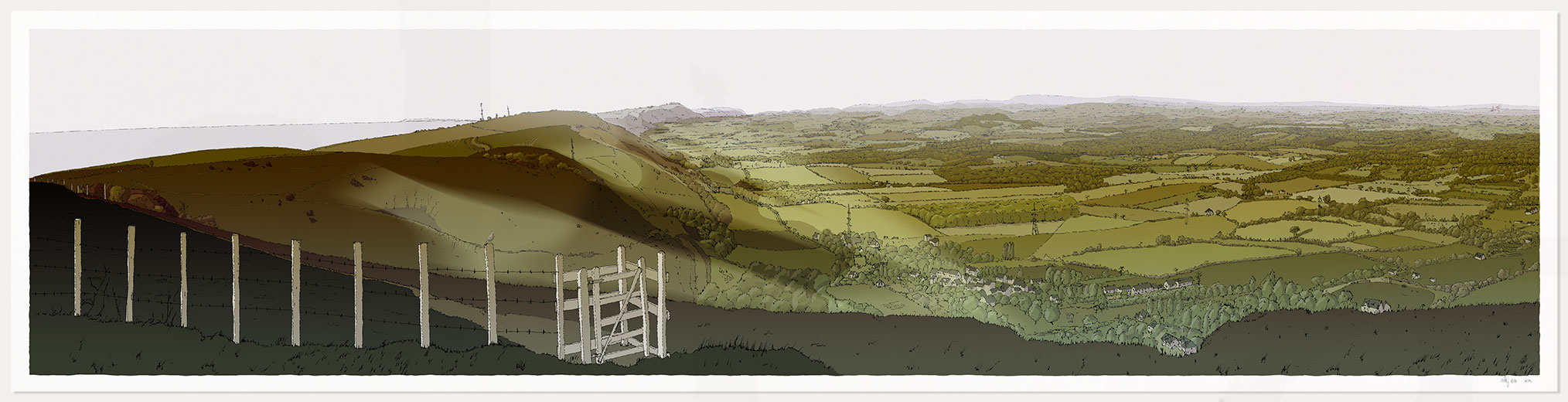 Print named The Lark over the Sussex Weald from Devils Dyke Fall Season by artist alej ez