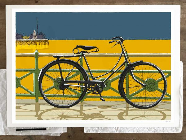 Fine art print by artist alej ez titled Cycling to the Palace Pier