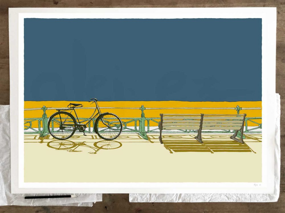 Fine art print by artist alej ez titled Bicycle and bench, Brighton Seafront