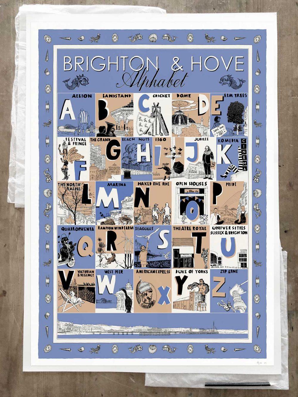 Fine art print by artist alej ez titled Brighton and Hove Alphabet