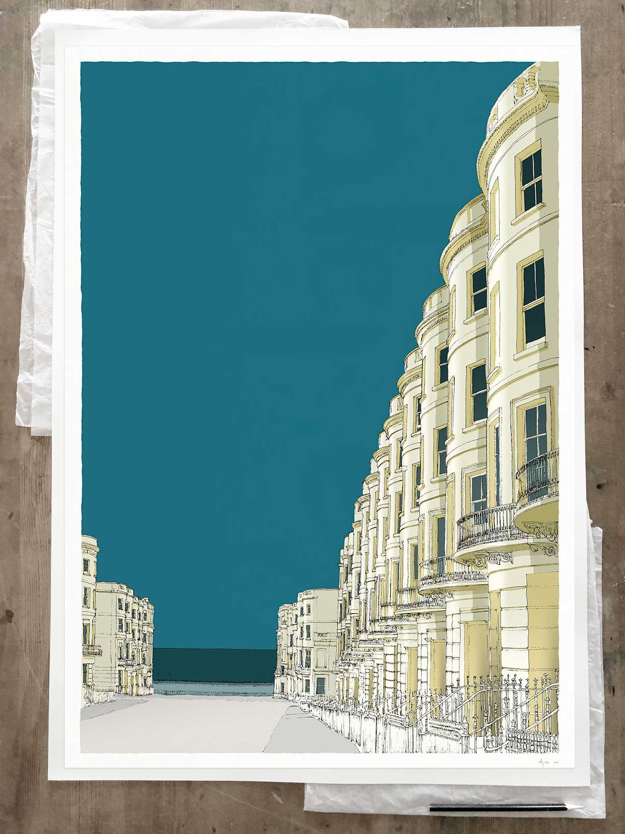 Fine art print by artist alej ez titled Brunswick Place and the Sea
