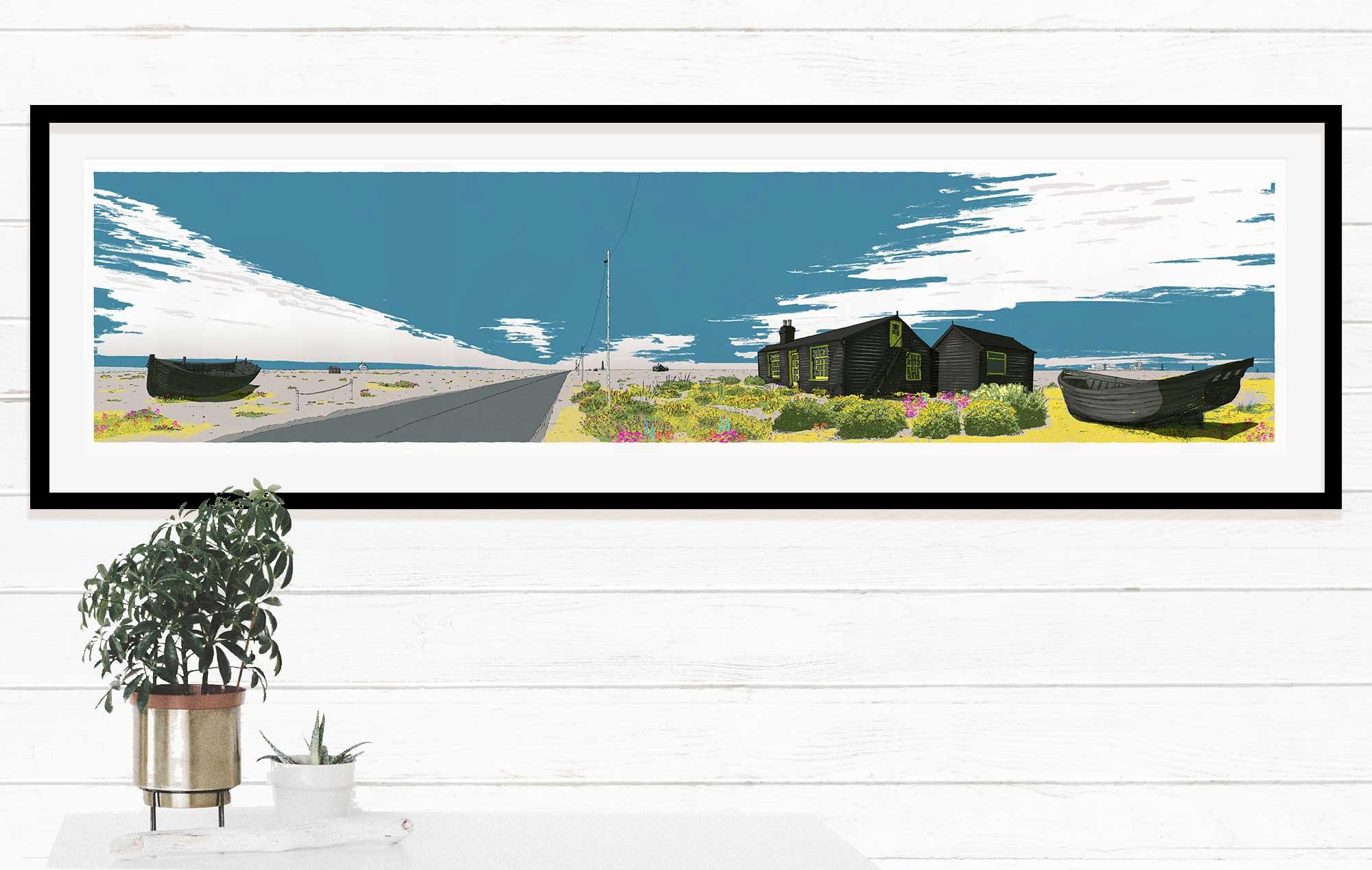 Framed art print named Ce Bleu Dungeness Derek Jarman Prospect Cottage by artist alej ez