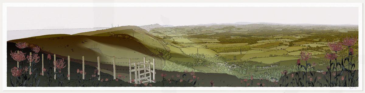 Print named Devils Dike Round Headed Rampion, Pride of Sussex Season Fall by artist alej ez