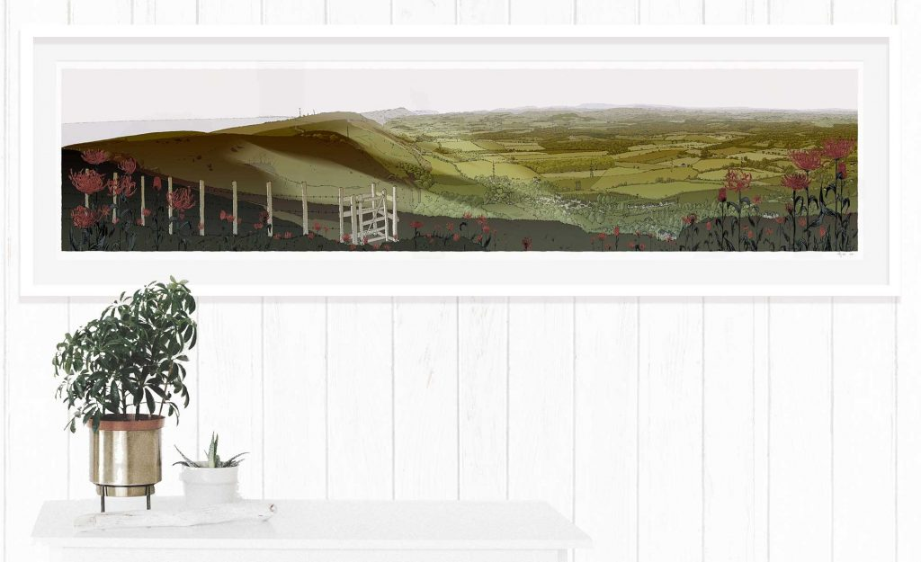 Devils Dyke Walk Season Fall framed fine art print