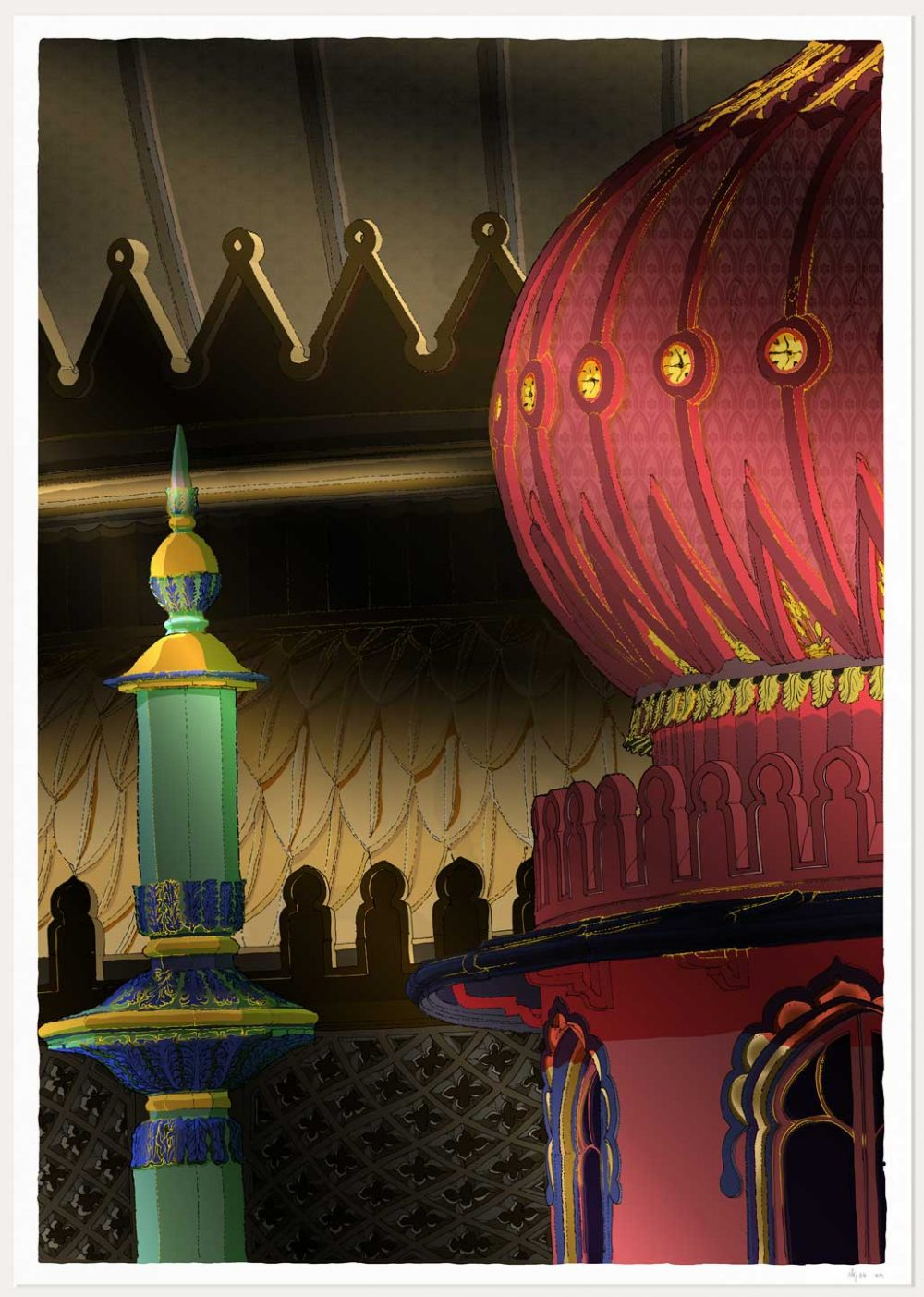 Print named Brighton Pavilion Finial and Domes Regency Nights by artist alej ez