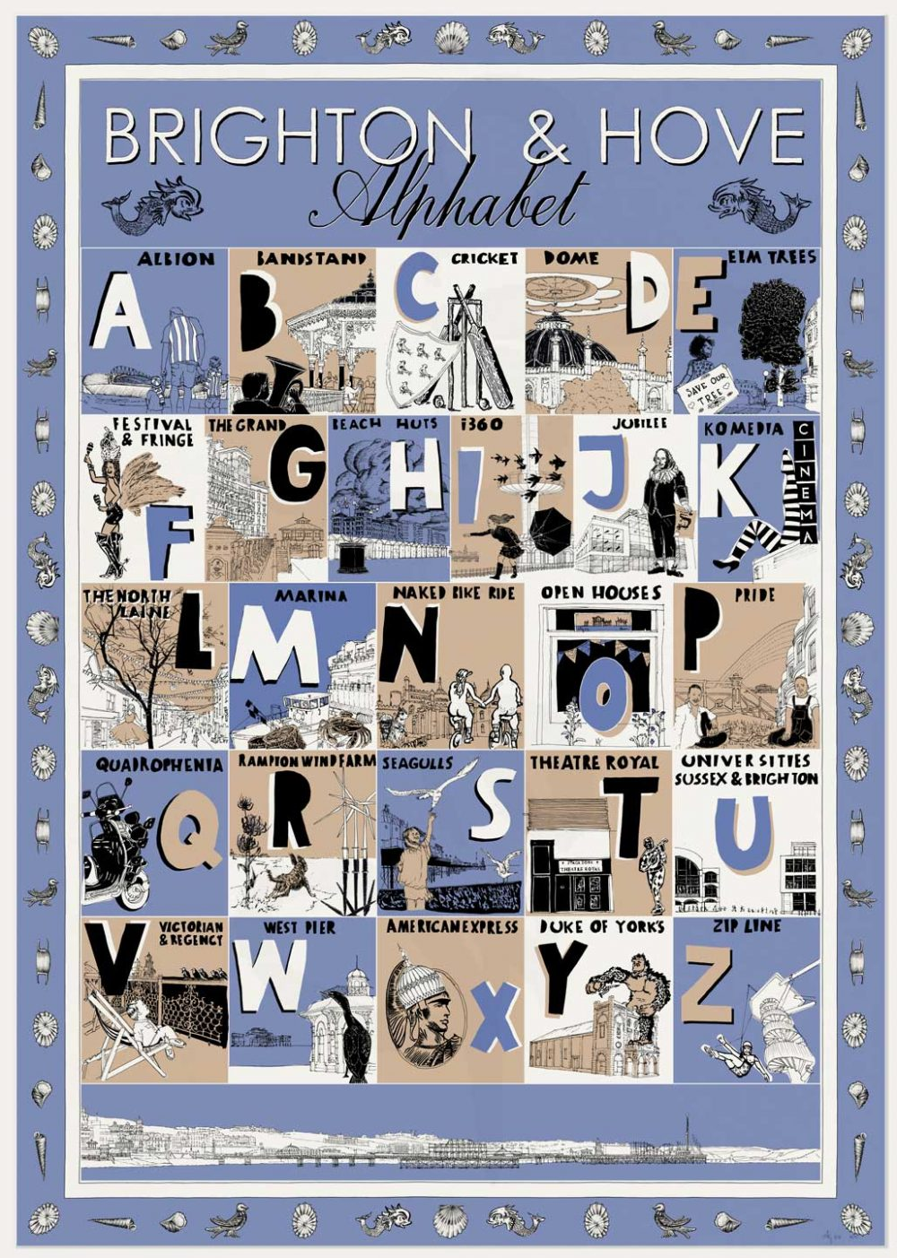 print named Brighton and Hove Alphabet by artist alej ez