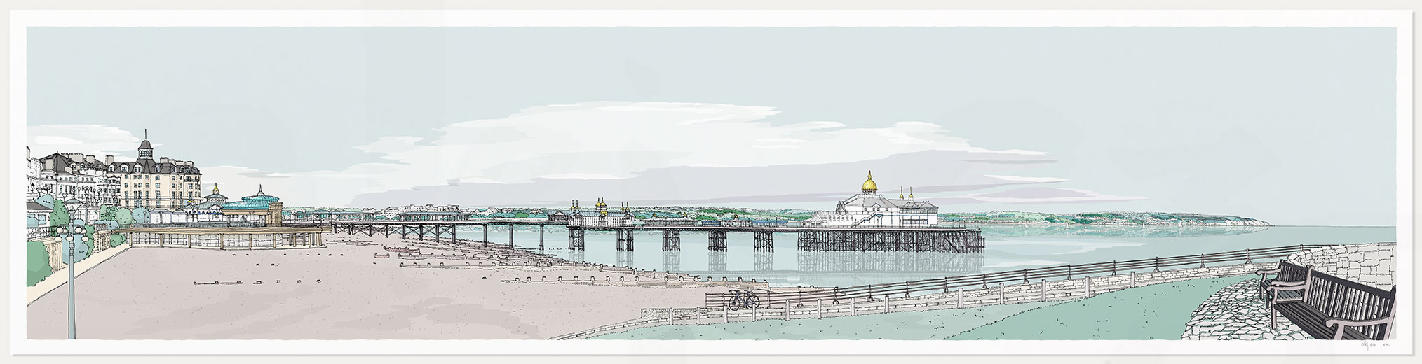 Print named Eastbourne East Promenade Pebble Beach by artist alej ez