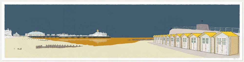 print named Eastbourne Pier and Huts Antique Blue and Ochre by artist alej ez