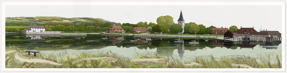 print named Bosham Harbour Chichester West Sussex by artist alej ez