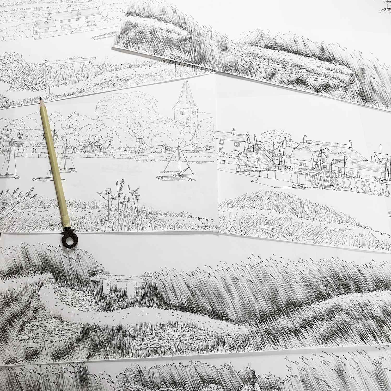 Bosham base print drawing